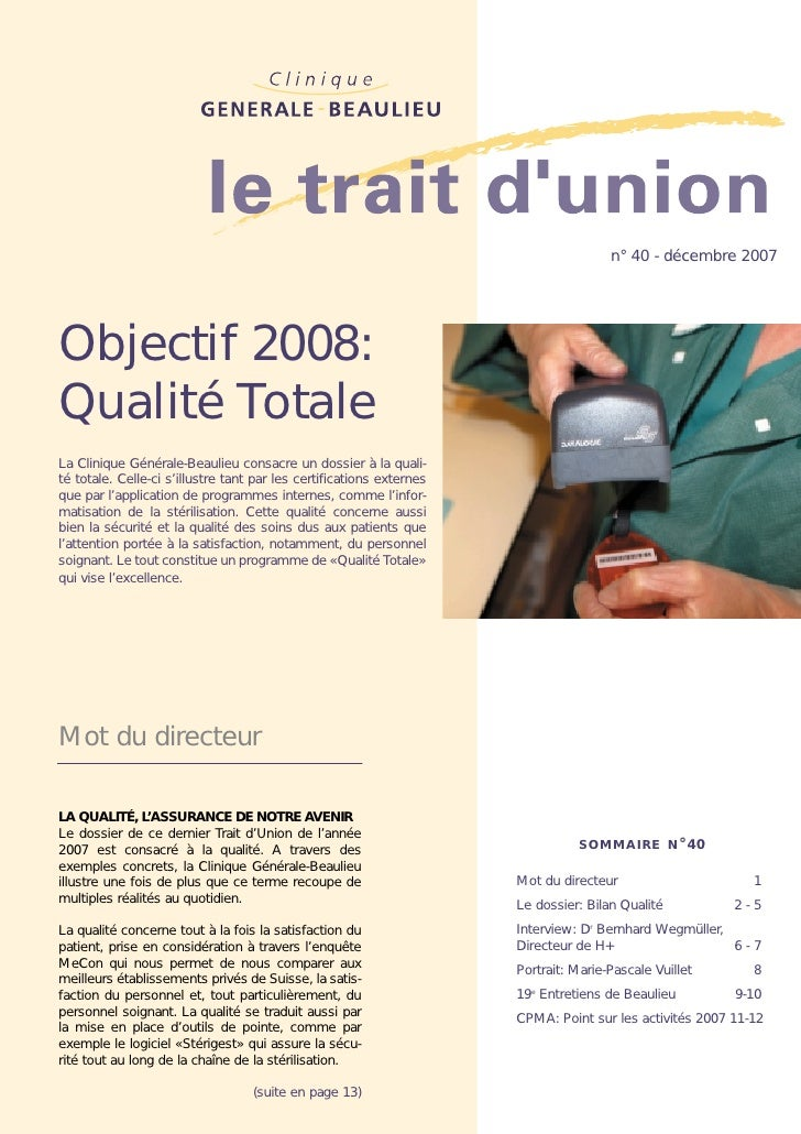 Clinique Générale-Beaulieu : Qualité Totale