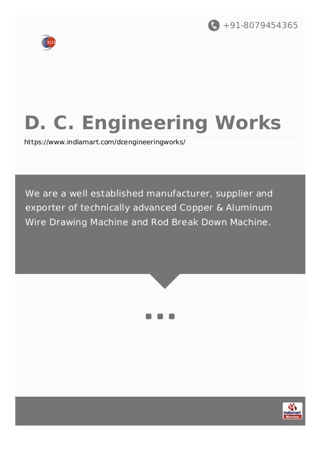 +91-8079454365 D. C. Engineering Works https://www.indiamart.com/dcengineeringworks/ We are a well established manufacture...