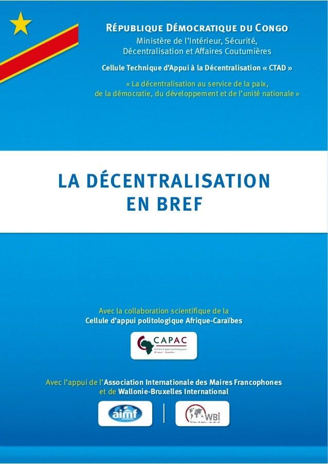 Cellule d'appui politologique Afrique - Caraïbes Avec l'appui de l'Association Internationale des Maires Francophones et d...