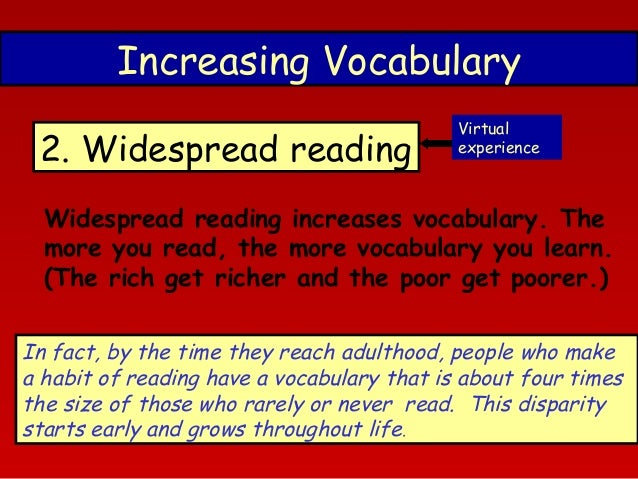 reading habit and vocabulary size The effect of extensive reading  extensive reading, vocabulary size  texts outside the classroom and implement reading habit in learners by.
