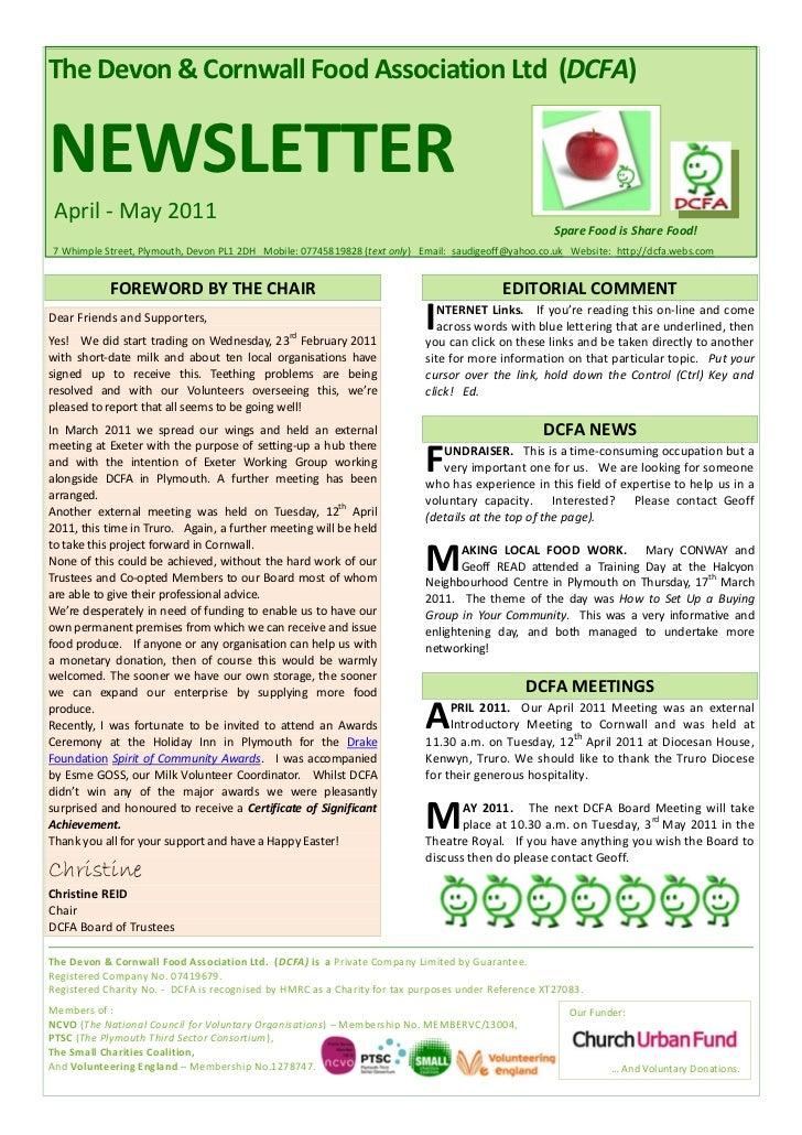 The Devon & Cornwall Food Association Ltd (DCFA)NEWSLETTER April - May 2011                                               ...