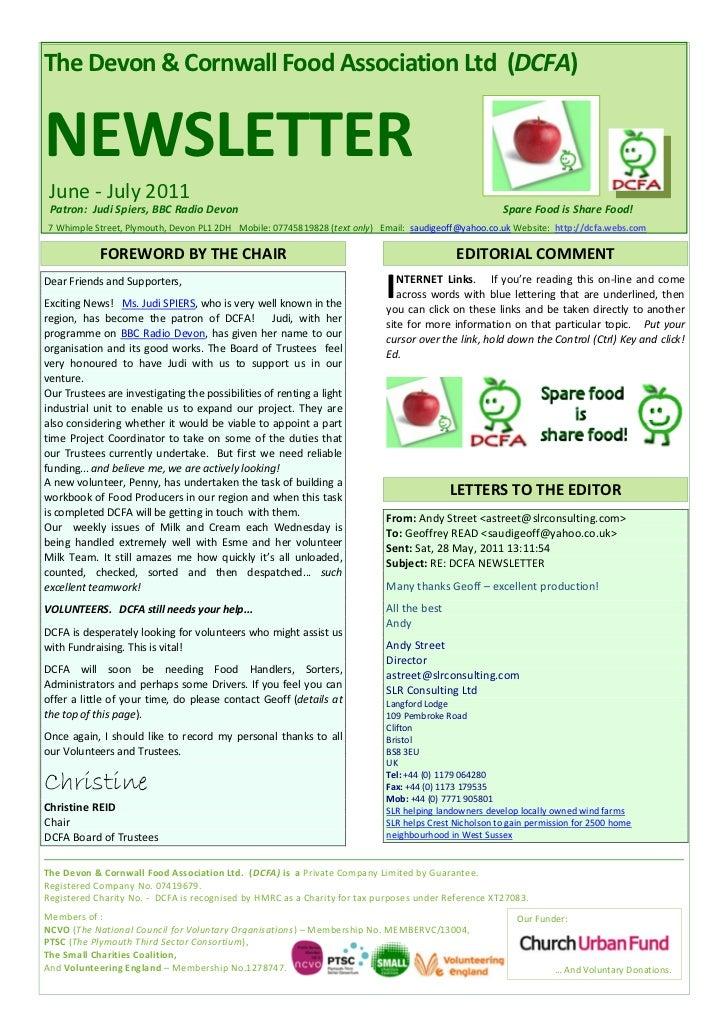 The Devon & Cornwall Food Association Ltd (DCFA)NEWSLETTER June - July 2011 Patron: Judi Spiers, BBC Radio Devon          ...