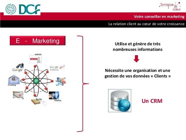 La relation client au cœur de votre croissance Votre conseiller en marketing E - Marketing Utilise et génère de très nombr...