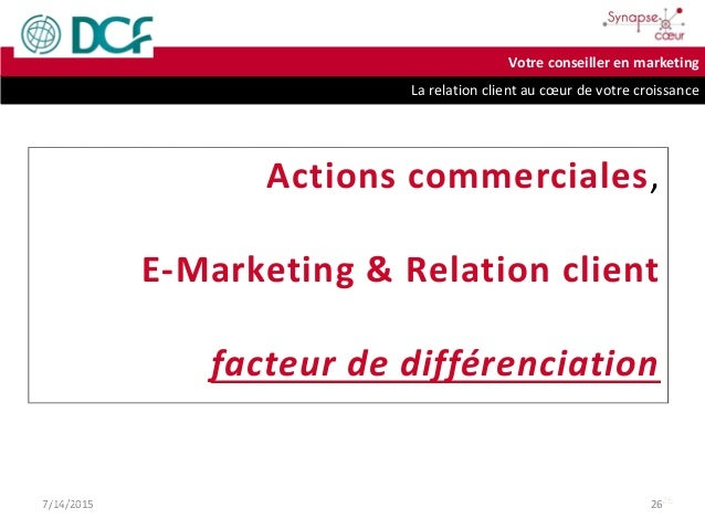 La relation client au cœur de votre croissance Votre conseiller en marketing 7/14/2015 267/14/2015 26 Actions commerciales...