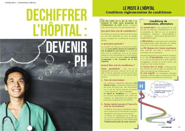 12 13 DECHIFFRER L'HÔPITAL : DEVENIR PH ›››› Le poste à l'hôpital Conditions règlementaires de candidature 1312 Doit être ...