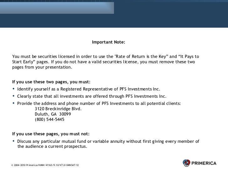 "<ul><li>Important Note: </li></ul><ul><li>You must be securities licensed in order to use the ""Rate of Return is the ..."