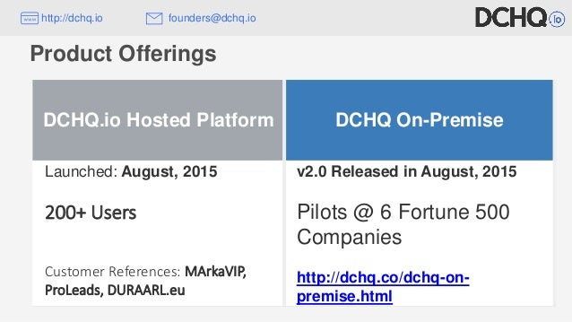 Product Offerings DCHQ.io Hosted Platform DCHQ On-Premise Launched: August, 2015 200+ Users Customer References: MArkaVIP,...