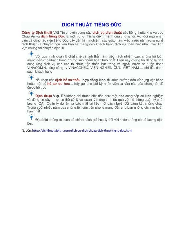 DỊCH THUẬT TIẾNG ĐỨCCông ty Dịch thuật Việt Tín chuyên cung cấp dịch vụ dịch thuật các tiếng thuộc khu vu vựcChâu Âu và dị...