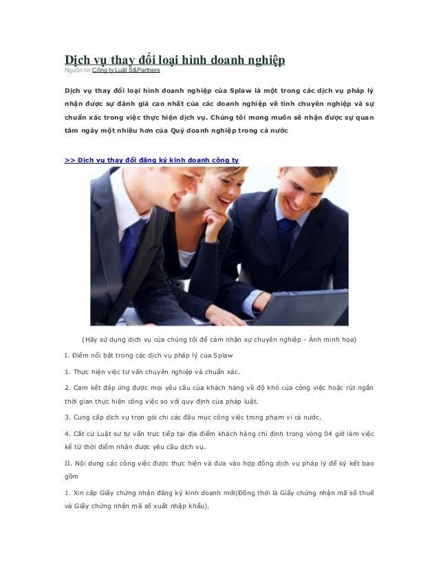 Dịch vụ thay đổi loại hình doanh nghiệp Nguồn tin:Công ty Luật S&Partners  Dịch ...