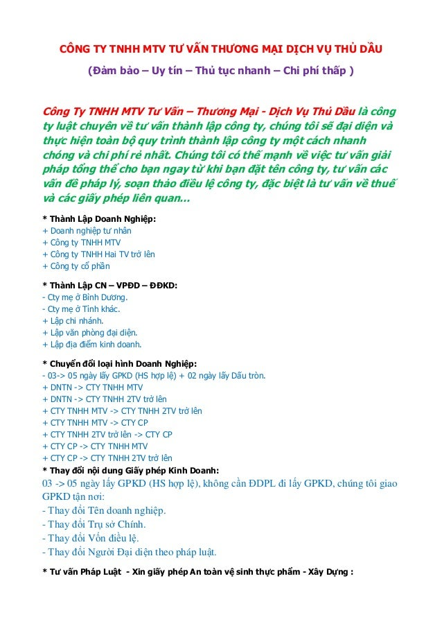 CÔNG TY TNHH MTV TƢ VẤN THƢƠNG MẠI DỊCH VỤ THỦ DẦU (Đảm bảo – Uy tín – Thủ tục nhanh – Chi phí thấp ) Dịch vụ thay đổi nội...