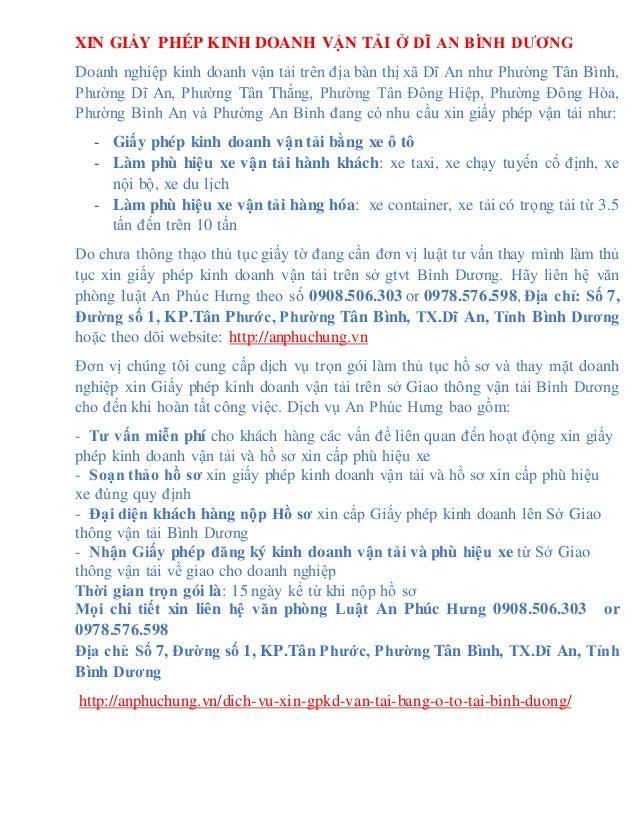 XIN GIẤY PHÉP KINH DOANH VẬN TẢI Ở DĨ AN BÌNH DƯƠNG Doanh nghiệp kinh doanh vận tải trên địa bàn thị xã Dĩ An như Phường T...