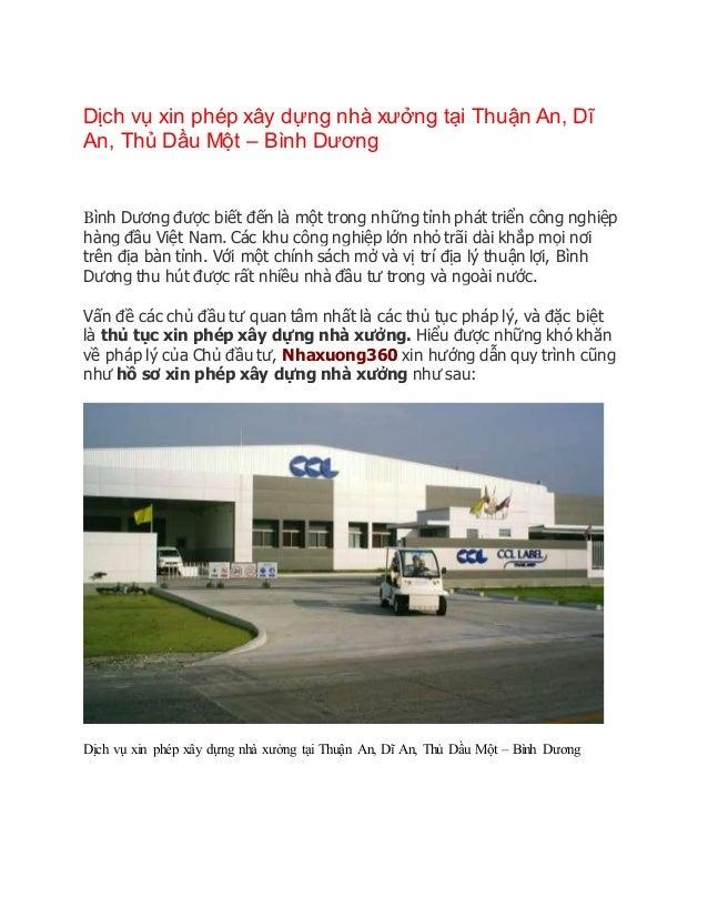 Dịch vụ xin phép xây dựng nhà xưởng tại Thuận An, Dĩ An, Thủ Dầu Một – Bình Dương Bình Dương được biết đến là một trong nh...