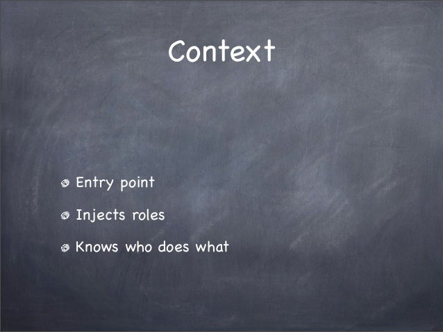 ContextEntry pointInjects rolesKnows who does what