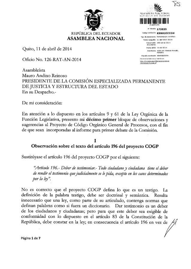 }S , ii&i6 173533 .dlgo@d6ddi KSNH2cccol{ ASAMBIJANACIONAL Quito, 11 de abtil de 2014 Ofrcio No. 1 26-RAT-AN-2014 Asamblei...