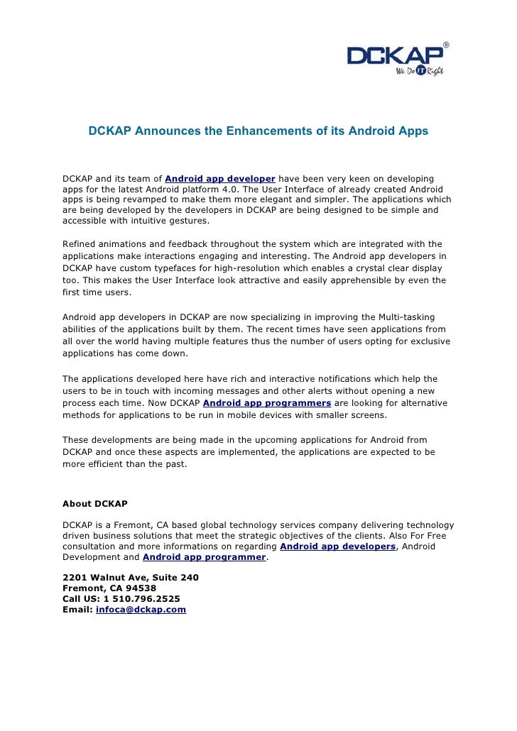 DCKAP Announces the Enhancements of its Android AppsDCKAP and its team of Android app developer have been very keen on dev...