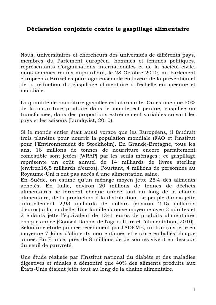Déclaration conjoint contre_le_gaspillage_alimentaire