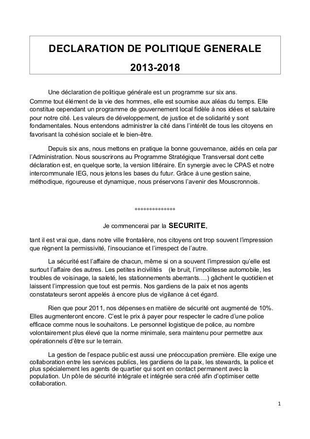 DECLARATION DE POLITIQUE GENERALE                                      2013-2018       Une déclaration de politique généra...