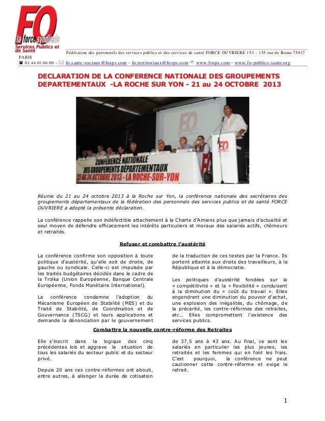 Fédération des personnels des services publics et des services de santé FORCE OUVRIERE 153 - 155 rue de Rome 75017 PARIS ...