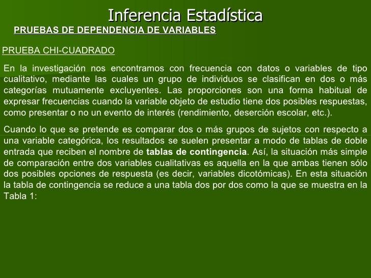 Inferencia Estadística PRUEBA CHI-CUADRADO PRUEBAS DE DEPENDENCIA DE VARIABLES En la investigación nos encontramos con fre...