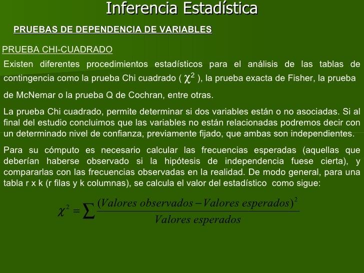 Inferencia Estadística PRUEBA CHI-CUADRADO PRUEBAS DE DEPENDENCIA DE VARIABLES Existen diferentes procedimientos estadísti...