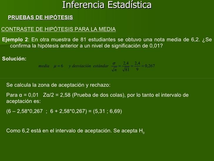 Inferencia Estadística CONTRASTE DE HIPÓTESIS PARA LA MEDIA Ejemplo 2 : En otra muestra de 81 estudiantes se obtuvo una no...