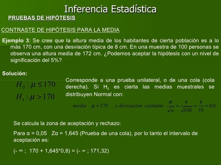 Inferencia Estadística CONTRASTE DE HIPÓTESIS PARA LA MEDIA Ejemplo 3 : Se cree que la altura media de los habitantes de c...