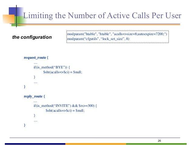 """27 # limit to maximum 3 active calls per user route[ACLIMIT] { if(is_method(""""INVITE"""") && !has_totag()) { lock(""""$fU""""); $var..."""