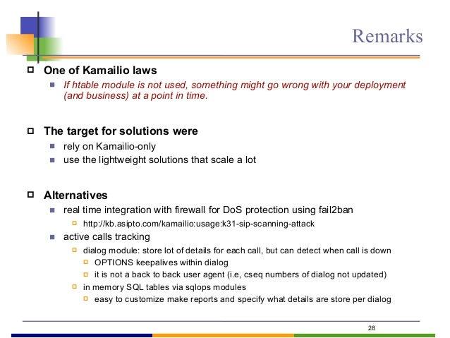 29 Daniel-Constantin Mierla Co-Founder Kamailio http://www.asipto.com daniel@asipto.com Thank you! Questions? twitter: @mi...