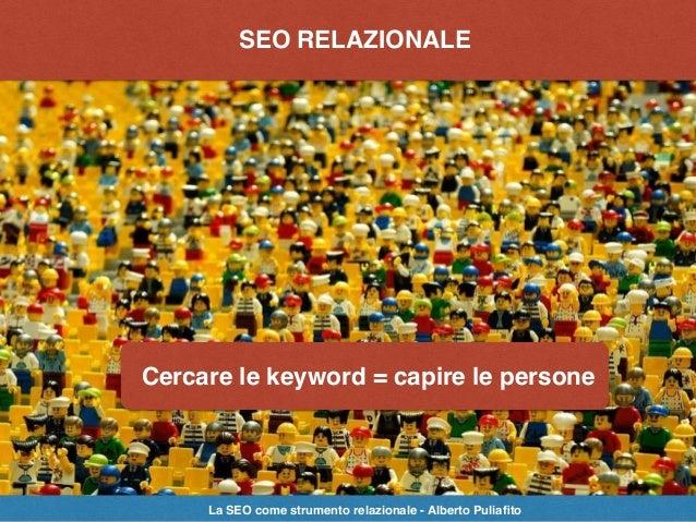 SEO: strategie, tecniche, strumentiSEO RELAZIONALE Cercare le keyword = capire le persone La SEO come strumento relazional...
