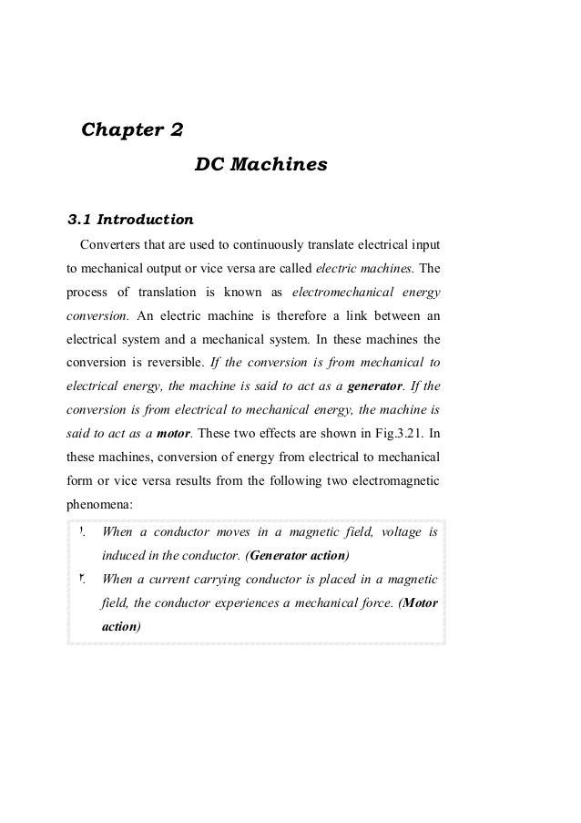 Chapter 2                       DC Machines3.1 Introduction  Converters that are used to continuously translate electrical...