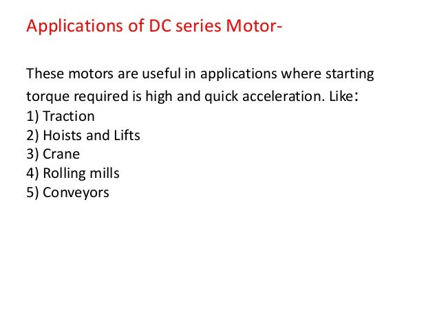 dc motor 33 applications of dc series motor