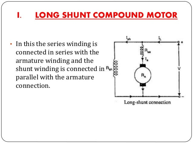 II. SHORT SHUNT COMPUND MOTOR • In short shunt compound motor the series winding is connected in series to the parallel co...