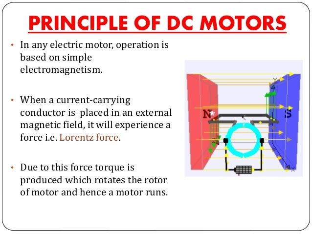 PRINCIPLE OF DC MOTORS • In any electric motor, operation is based on simple electromagnetism. • When a current-carrying c...