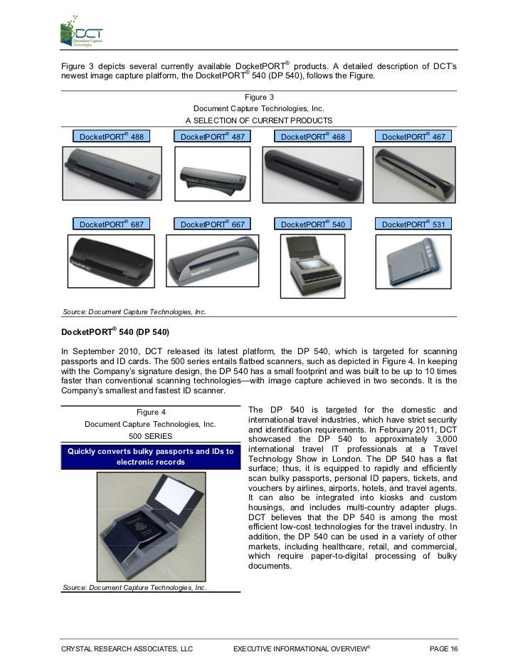 Figure 3 depicts several currently available DocketPORT® products. A detailed description of DCT'snewest image capture pla...