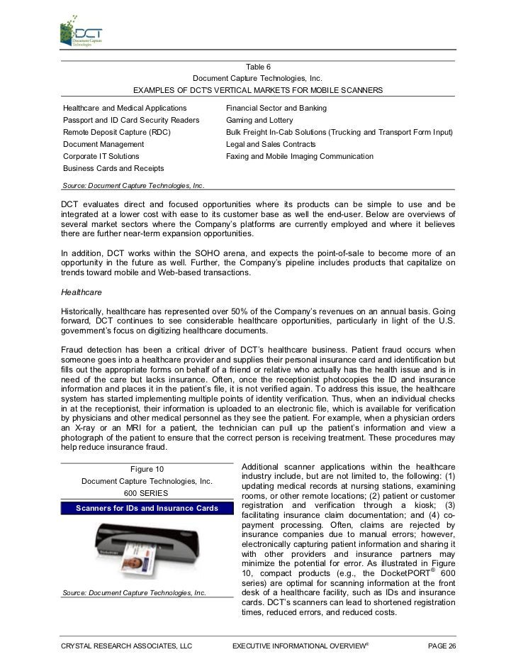Table 6                                  Document Capture Technologies, Inc.                     EXAMPLES OF DCTS VERTICAL...