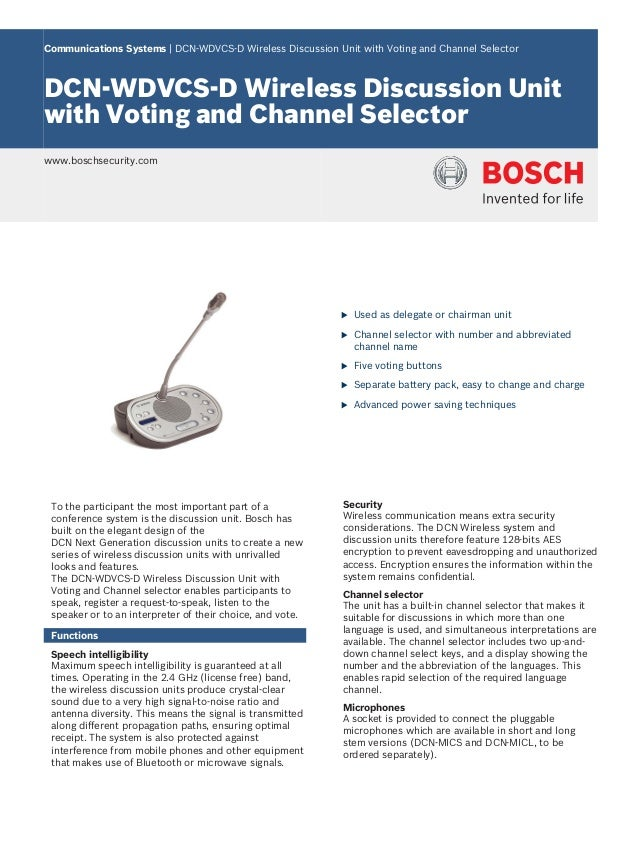 Communications Systems   DCN‑WDVCS‑D Wireless Discussion Unit with Voting and Channel Selector DCN‑WDVCS‑D Wireless Discus...