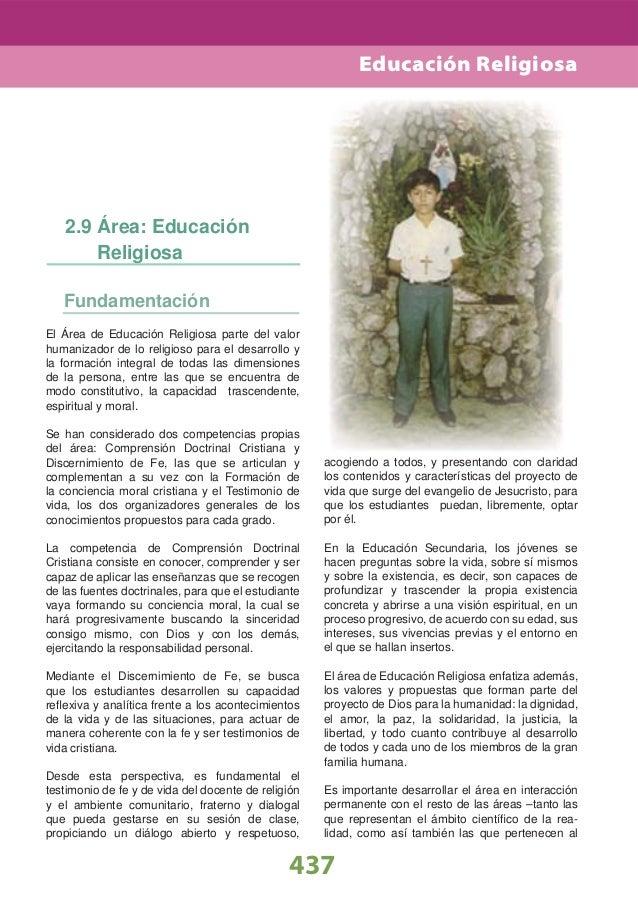 Educación Religiosa   2.9 Área: Educación       Religiosa   FundamentaciónEl Área de Educación Religiosa parte del valorhu...