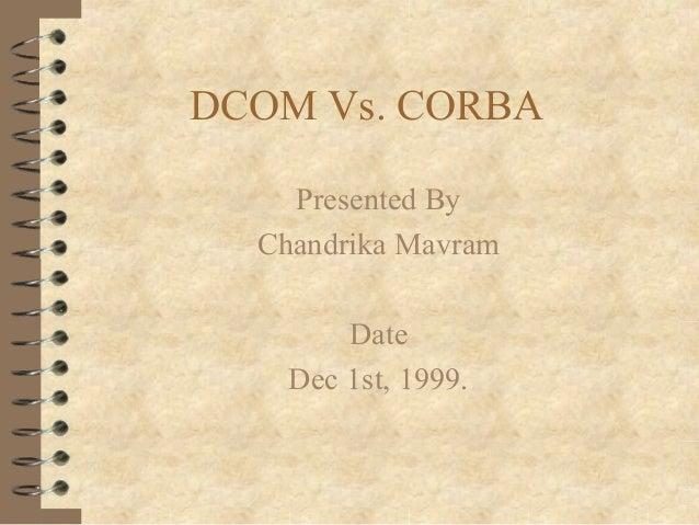 DCOM Vs. CORBA    Presented By  Chandrika Mavram        Date    Dec 1st, 1999.
