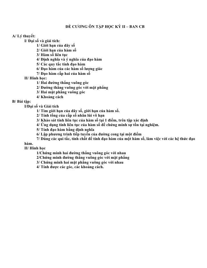 ĐỀ CƯƠNG ÔN TẬP HỌC KỲ II – BAN CB  A/ Lý thuyết:        I/ Đại số và giải tích:                1/ Giới hạn của dãy số    ...
