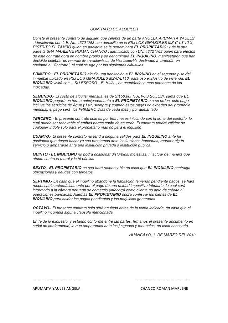 D contrato de alquiler for Modelo contrato alquiler vivienda sencillo