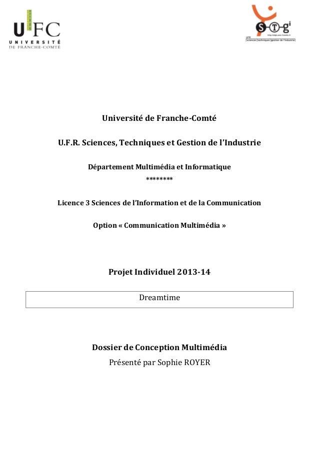 Université de Franche-Comté U.F.R. Sciences, Techniques et Gestion de l'Industrie Département Multimédia et Informatique *...