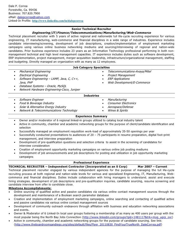 It Recruiter Resume D Correa Resume Technical Recruiter V20111024