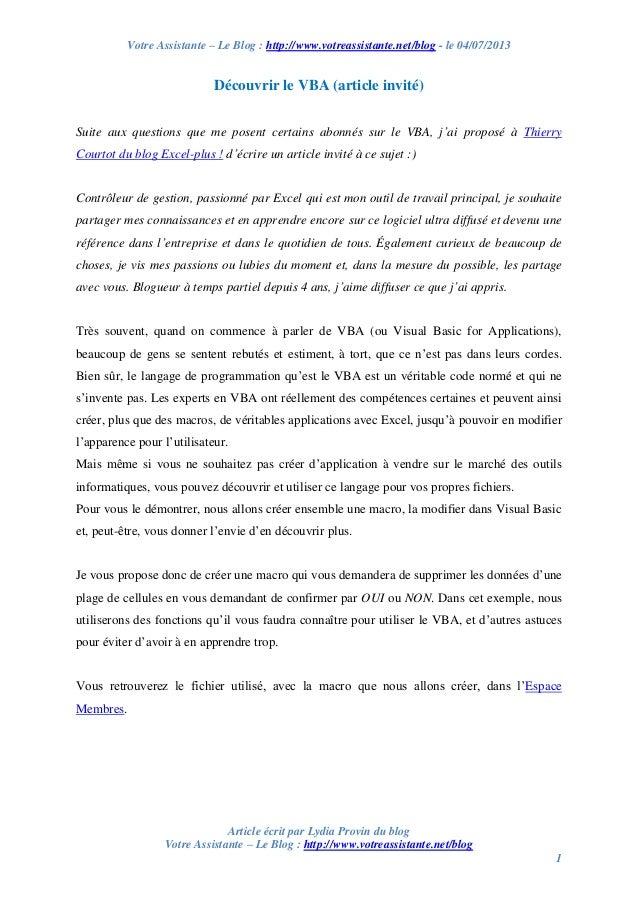 Votre Assistante – Le Blog : http://www.votreassistante.net/blog - le 04/07/2013 Article écrit par Lydia Provin du blog Vo...