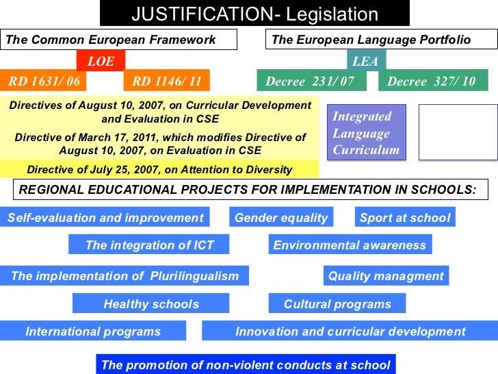 JUSTIFICATION- LegislationThe Common European Framework                      The European Language Portfolio              ...