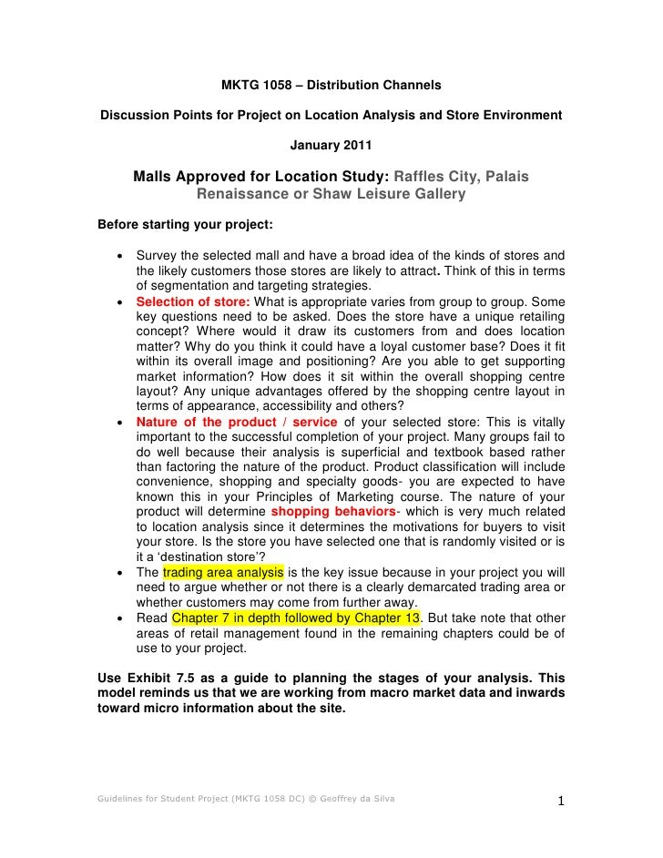 MKTG 1058 – Distribution ChannelsDiscussion Points for Project on Location Analysis and Store Environment                 ...