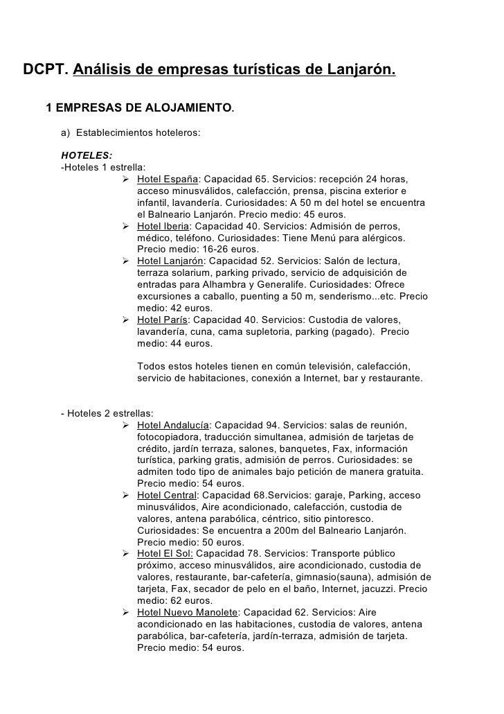 DCPT. Análisis de empresas turísticas de Lanjarón.     1 EMPRESAS DE ALOJAMIENTO.       a) Establecimientos hoteleros:    ...