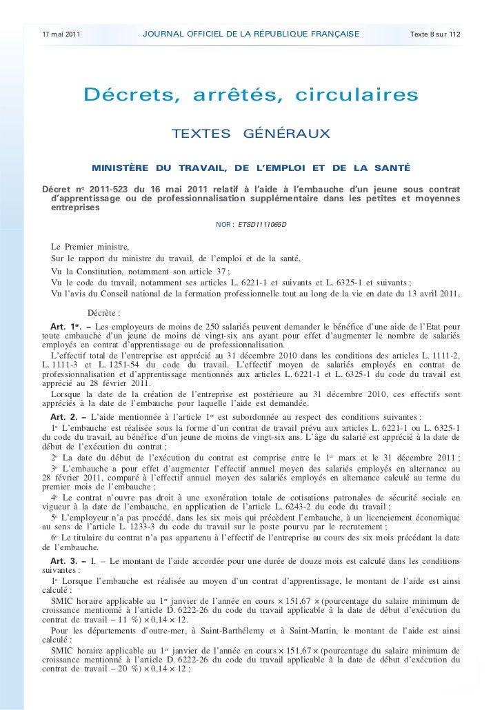 17 mai 2011                JOURNAL OFFICIEL DE LA RÉPUBLIQUE FRANÇAISE                               Texte 8 sur 112      ...