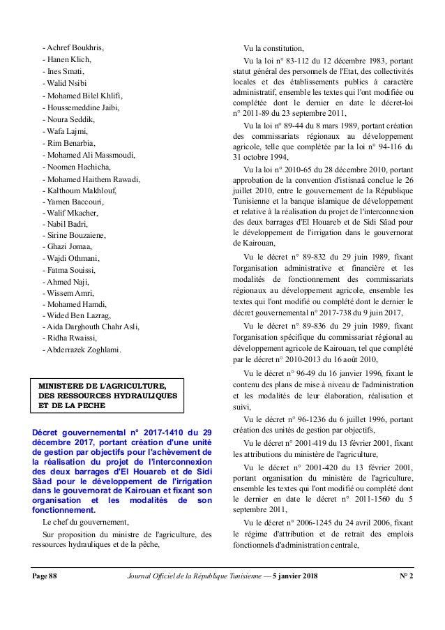 Page 88 Journal Officiel de la République Tunisienne — 5 janvier 2018 N° 2 - Achref Boukhris, - Hanen Klich, - Ines Smati,...