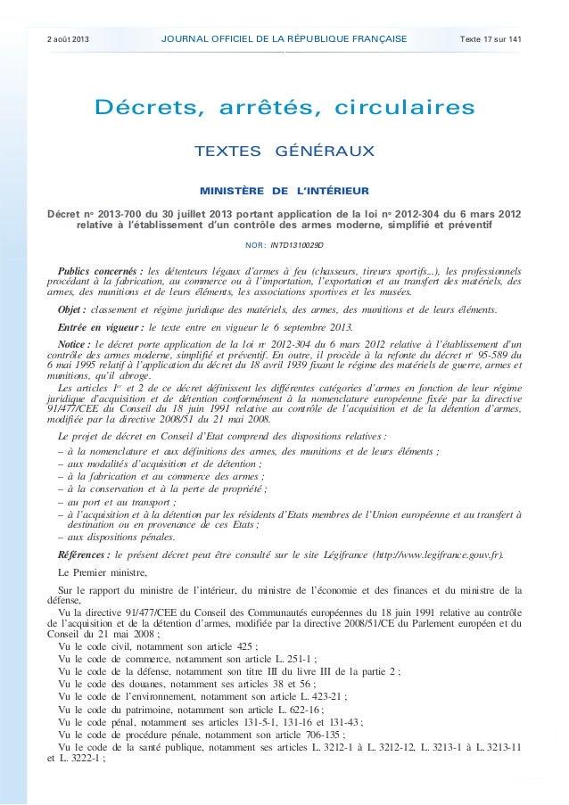 .  JOURNAL OFFICIEL DE LA RÉPUBLIQUE FRANÇAISE  2 août 2013  Texte 17 sur 141  Décrets, arrêtés, circulaires TEXTES GÉNÉRA...
