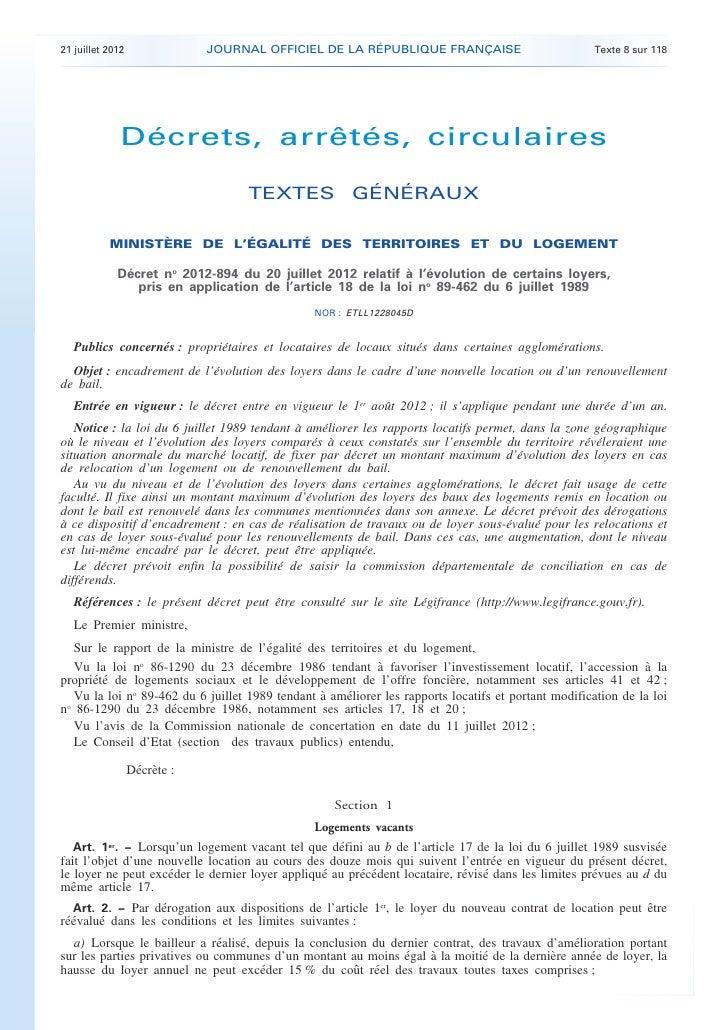 21 juillet 2012               JOURNAL OFFICIEL DE LA RÉPUBLIQUE FRANÇAISE                            Texte 8 sur 118      ...